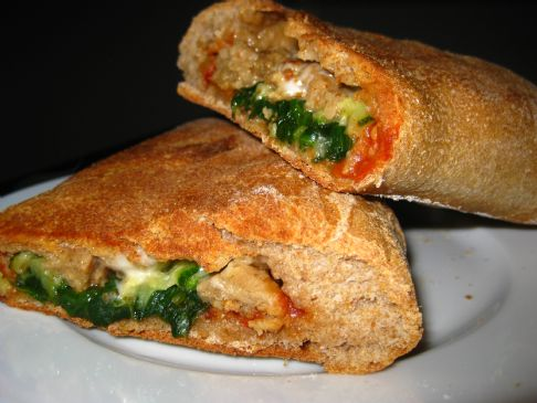 Whole Wheat Vegan Sausage & Veggie Calzone