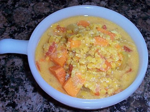 Pink lentil soup with sweet potato