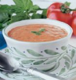 Creamy Tomato Gorgonzola Soup with Fresh Basil