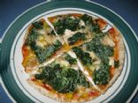 Pita Pizza with Chicken, Sweet Pepper, and Spinach