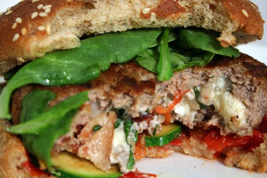 Turkey burger stuffed with Zuchinni/mushrooms  {Meal for one}