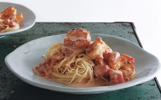 Geraine's Shrimp with Angel Hair Pasta and Creamy Tomato Sauce