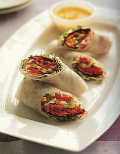 Healthy Spring Rolls with Carrot-Ginger Dipping Sauce Recipe ...