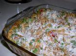 Creamy Garlic Chicken Spaghetti Casserole