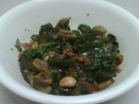Spinach, Beet Greens and Mushroom Saute'