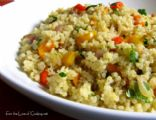 Quinoa with Caramelized Red Onion, Bell Peppers and Garlic