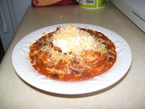 Microwave Salsa Chicken Soup