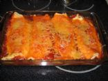 Creamy chicken filled enchiladas