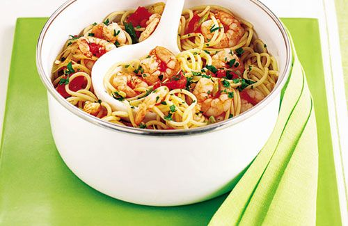 Spaghetti with Prawns & Chilli