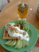 Mel's Oatbran apple cinnamon waffles