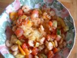 Roasted Spaghetti Squash with Veggie Tomato Sauce & Shrimp