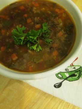 Hearty Vegetable Soup with Brown Rice and Lentils