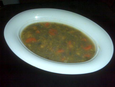 Simple Lentil Soup w/ Mashed Sweet Potatoes