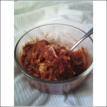 Enchilada Sauce with Shredded Chicken