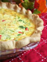 Broccoli, Corn, and Red Bell Pepper Quiche
