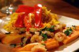 hot and sweet thai shrimp with fresh papaya