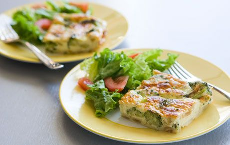 Organic (non-dairy) Crustless Broccoli  and Onion Quiche