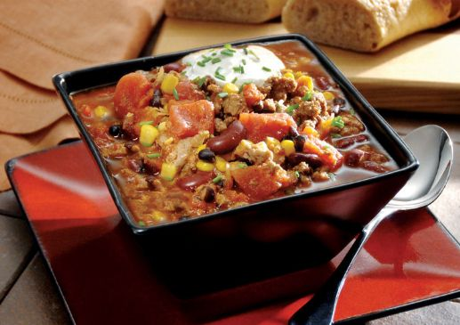 Turkey Chili with Corn and Black Beans