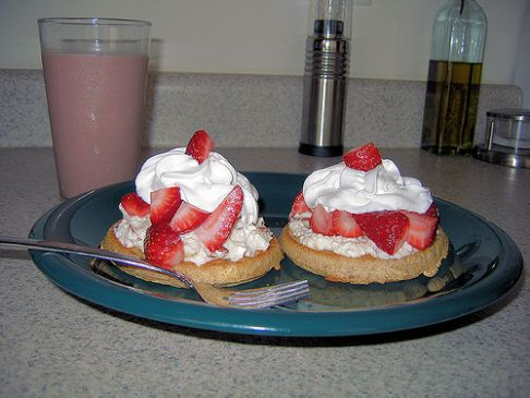 Waffles with Honey Ricotta and Strawberries