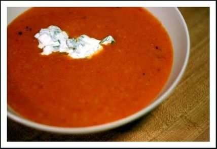 Creamy Cauliflower and Roasted Red Pepper Soup Recipe | SparkRecipes