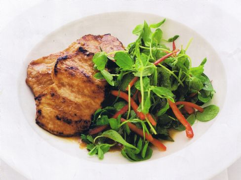 Red Curry Pork Steaks with Fresh Herb Salad