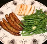 Andi's 'Blackened' Chicken with Garlic Haricots Vert (greenbeans), and rosemary oven fries.