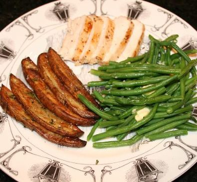 Image of Andi's 'blackened' Chicken With Garlic Haricots Vert (greenbeans), And Rosemary Oven Fries., Spark Recipes