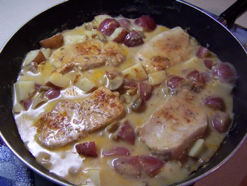 Paula's Ranch Style Pork Chops & Potatoes in a Skillet