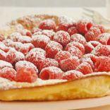 Oven Puffed Pancake with Fresh Raspberries