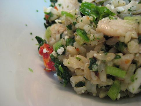 Chicken Spinach and Feta Brown Rice Bowl