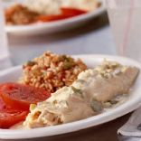 Low-Fat Cheesy Chicken Enchiladas With Creamy Green Chile Sauce