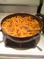 Pumpkin pasta with sausage and mushrooms
