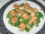 Tasty Sesame Asian Spinach Salad Topped With Garbanzo Beans and Grilled Shrimp