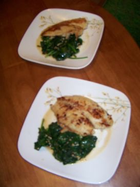 Tilapia over Spinach with a Garlic Wine Butter Sauce