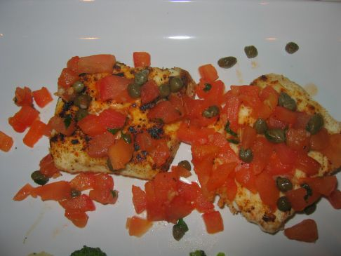 Pan Fried Halibut with Bruschetta Topping