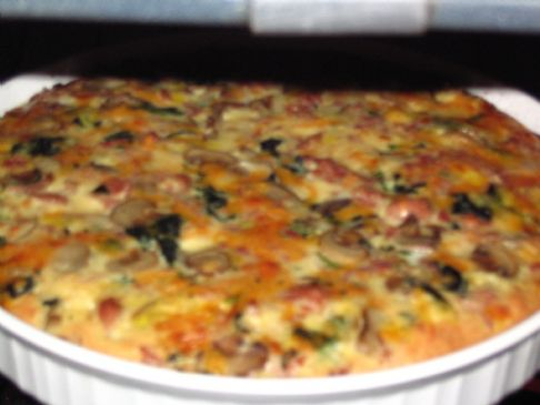 Rice Crusted Ham, Spinach, and Mushroom Quiche