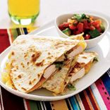 Chicken, Jalapeno Cheese (soy) and Avocado Quesadillas